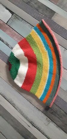 Kapelusz hand made ręcznie wykonany kolorowy w paski tani