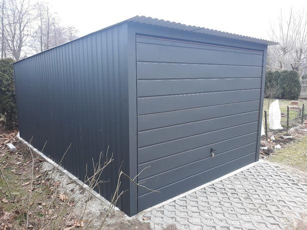 Garaż blaszany 3x5- Antracyt - z bramą uchylną - WYSOKA JAKOŚĆ