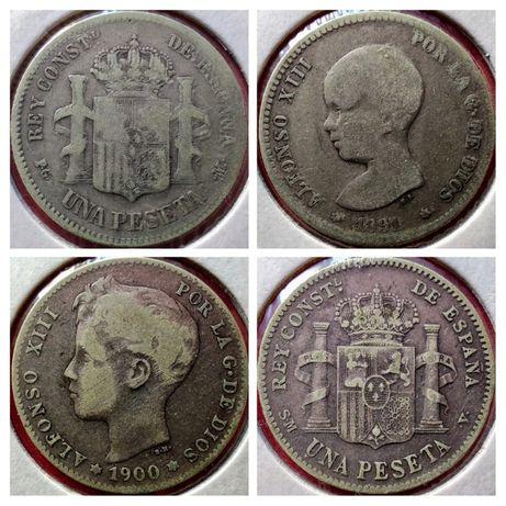 Zestaw monet Hiszpania 1 peseta 1891 r. 1900 r.