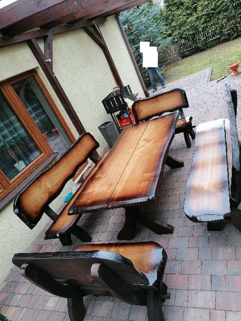 Meble ogrodowe stół ławki krzesła dla 10-12 osób altana parasol ogród