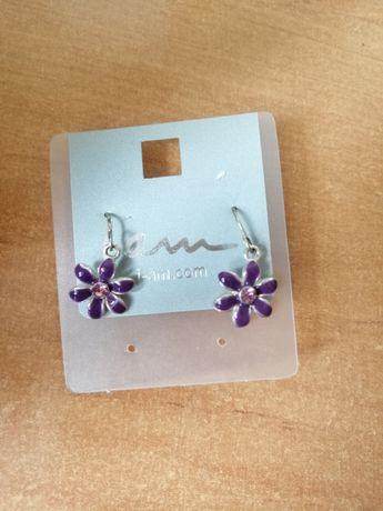 Nowe kolczyki kwiatuszki fioletowe święta prezent