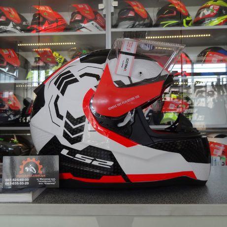 Мотоциклетный шлем интеграл LS2 FF353 Rapid Ghost White Black Red