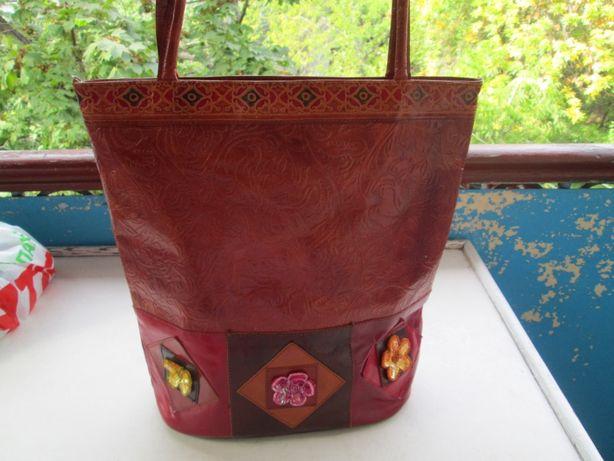 Большая индийская кирпичная натур кожаная сумка Exotica Новая