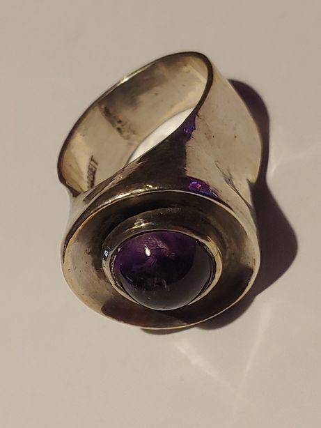 Srebrny sygnet pierścionek ametyst.rękodzieło.srebro 925.pierścień