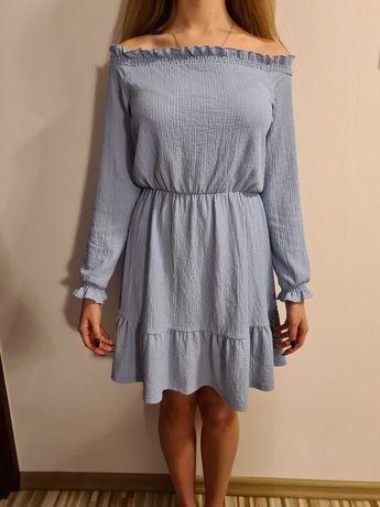 Sukienka niebieska hiszpanka letnia odkryte ramiona roz. S