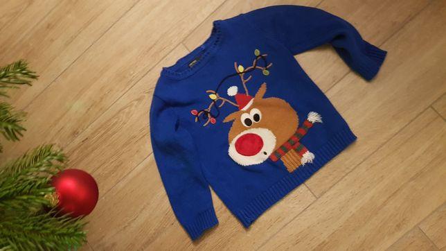 Sweterek świąteczny Next 98 renifer /raz ubrany