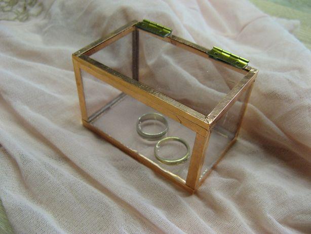 Pudełko szklane, szkatułka, organizer, na obrączki