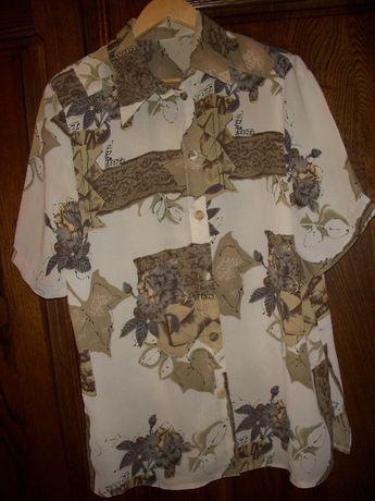 Ładna bluzka beżowa z motywem kwiatowym długa z krótkim rękawem 48