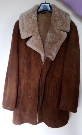 Kożuch męski 52 L ciepła kurtka płaszcz zima jesień skóra barania nowy