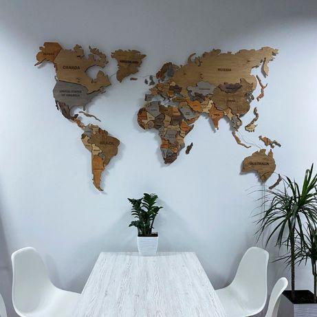 Карта Мира 3D, Многоуровневая Деревянная Карта Мира, LED MAP