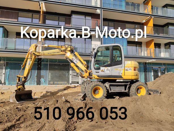 Usługi, wynajem koparka obrotowa kołowa, koparko-ładowarka Warszawa
