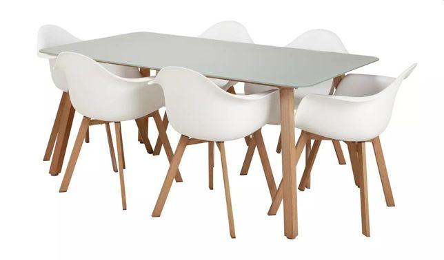 Meble Ogrodowe CASPER Duży Stół + 6 Nowoczesnych Białych Krzeseł