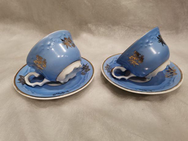 Porcelana Karolina 2 niebieskie filiżanki lata 60-te PRL