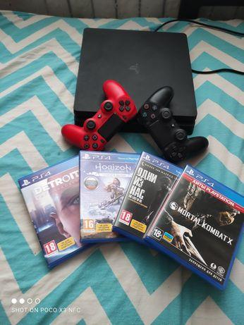 Playstation 4 Slim 1tb + 2 джойстика и игры