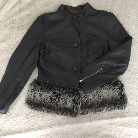 Czekoladowa kurtka jesienna skórzana skóra naturalna z futerkiem