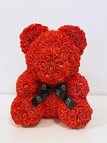 Miś z róż różany czerwony 40cm DUŻY! NOWY w folii!
