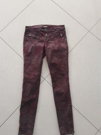 ORSAY bordo woskowane spodnie rurki skórzane wzory j. Mohito S 36