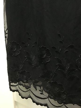 Długa PIĘKNA czarna sukienka koronkowa na ramiączkach rozm XS