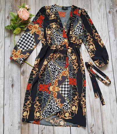 Облегающее миди платье  с принтом  цепей р 44-46