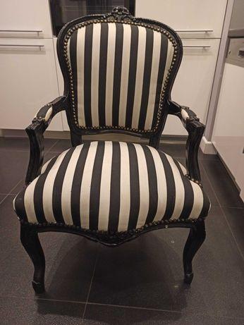 Fotel, krzesło Ludwik czarno-biały