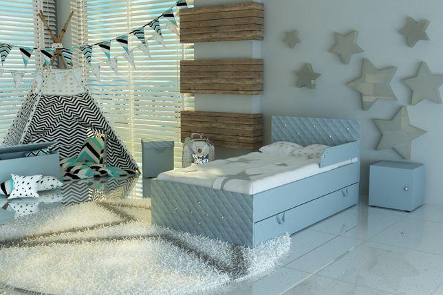 Łóżko dziecięce tapicerowane tkaniną z materacem i szufladą,dla dzieck