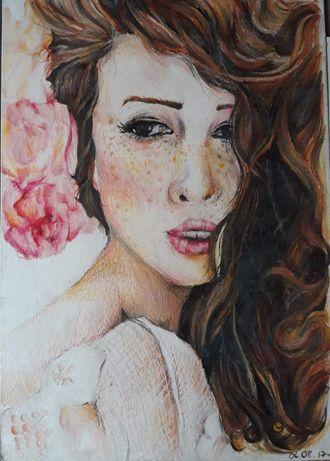 Rysunek,portret-kredki,akwarele, ołówek