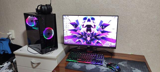 Мощный игровой компьютер + Монитор + клавиатура.