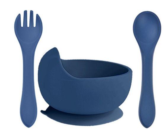 Тарілка на присосці з ложкою і виделкою. Силиконовый посуд