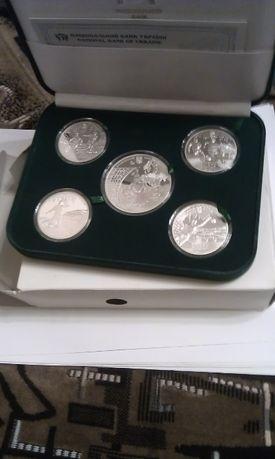 """Набір монет """"Євро 2012"""" (срібло, 5 шт.)"""