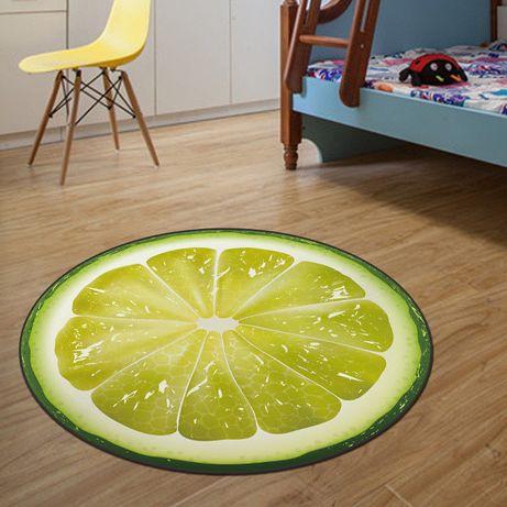 Коврик лайм круглый безворсовый принтом ковер для дома 80 см lime