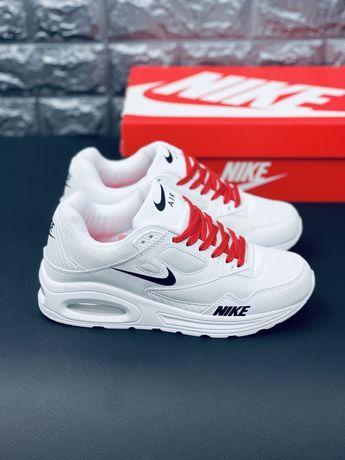 Nike Air Max 90 White Leather белые Скидка! Найк кроссовки Топ продаж!