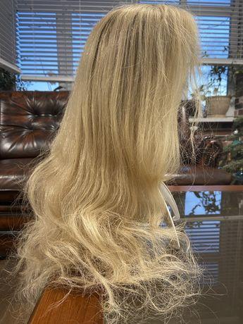 Парик блонд из натуральных волос