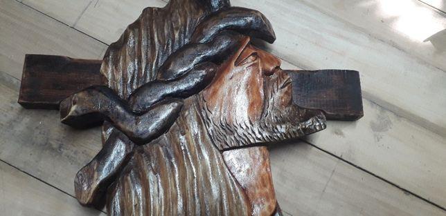 Płaskorzeźba/rzeźba Jezusa z krzyżem
