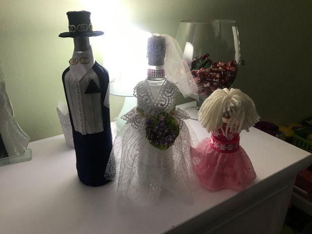 Para młoda i dziecko ozdobna na wesele