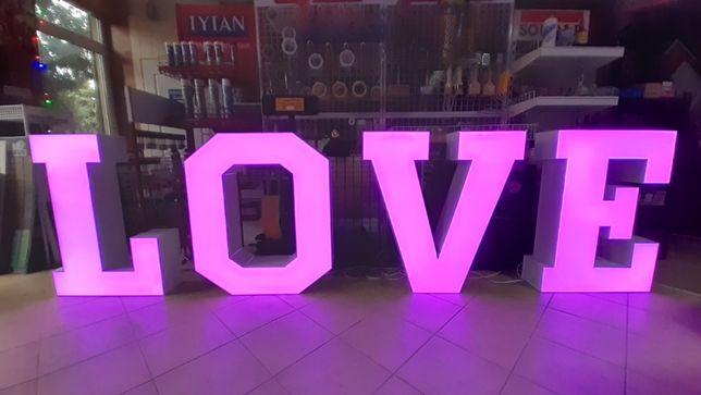 Napis LOVE, różne kolory RGB - na wesele i inne imprezy !!!