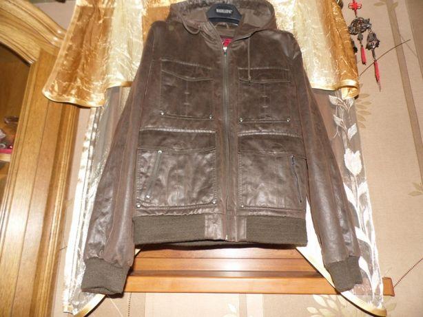 Młodzieżowa kurtka z kapturem z naturalnej skóry .