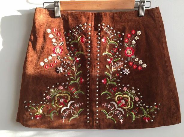 Spódnica Zara spódniczka haft haftowana skóra naturalna