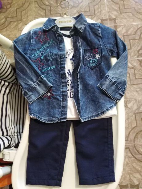 Костюм тройка на мальчика 12-18 мес Комплект: брюки футболка рубашка