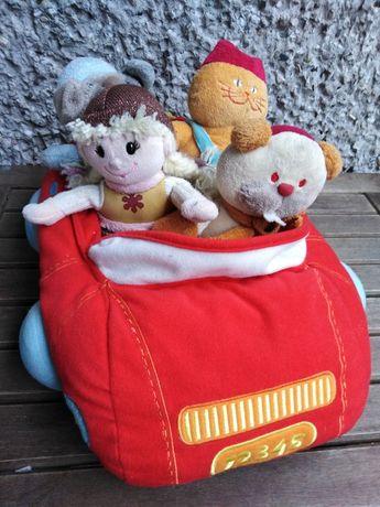 Zabawka dla malucha, Pluszowy samochód z pasażerami 40cm./sz.