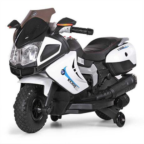 Детский мотоцикл Bambi M 3625 EL-1 BMW, черно-белый с нюансом