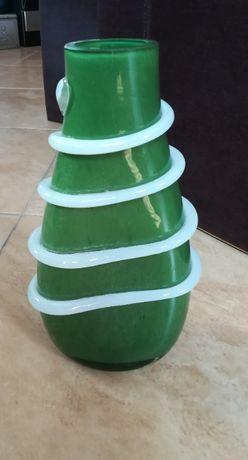 Wazon szklany PRL - zielony . Duży 34cm.