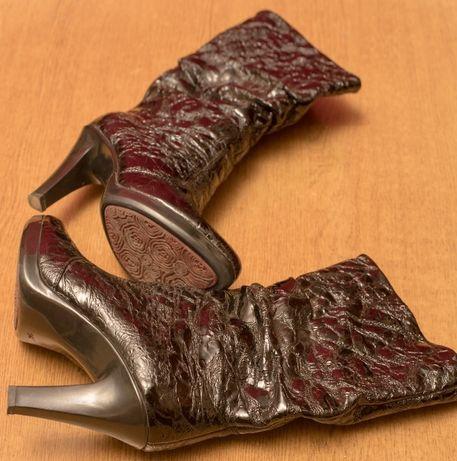 Cапоги женские натуральная кожа на каблуке