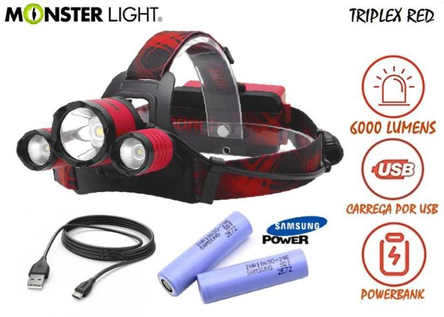 Kit lanterna cabeça MonsteLight Triplex-Red 6000 lumens