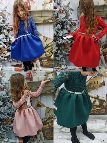 Śliczna sukienka świąteczna z koronką 92-152