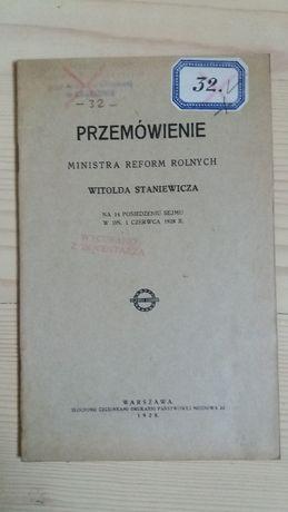 Przemówienie ministra Witolda Staniewicza 1928