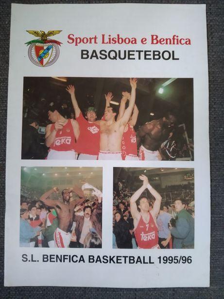 Revista Autografada de Basquetebol do Benfica Campeão em 95 / 96