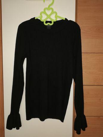 Czarna bluzka swetrowa w prążki bufiaste rękawy Lindex