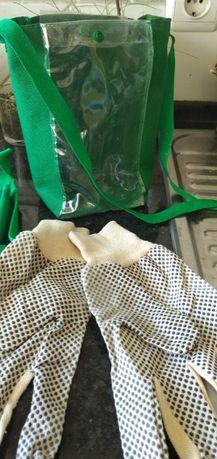 tesoura, avental e luvas para bonsai