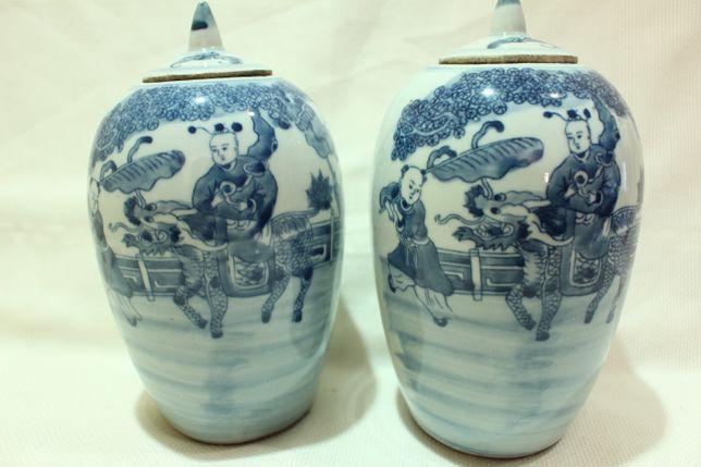 Par de Potes Porcelana Chinesa Crianças e Dragão XX