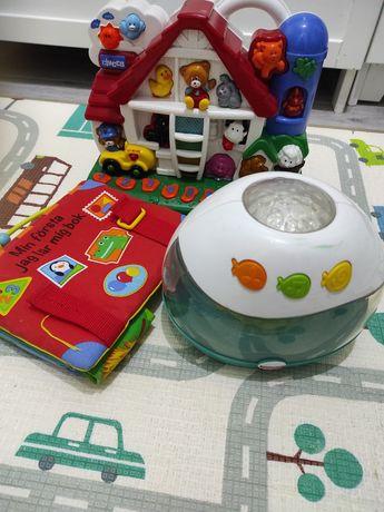 Zestaw zabawek farma książeczka lampka
